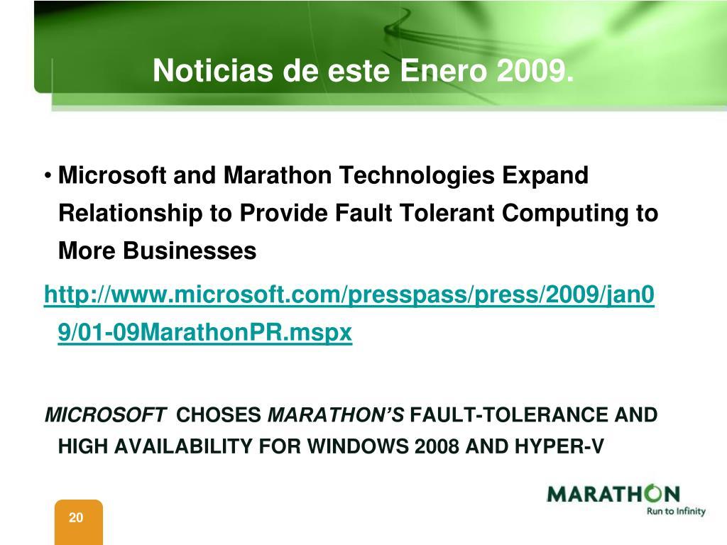 Noticias de este Enero 2009.