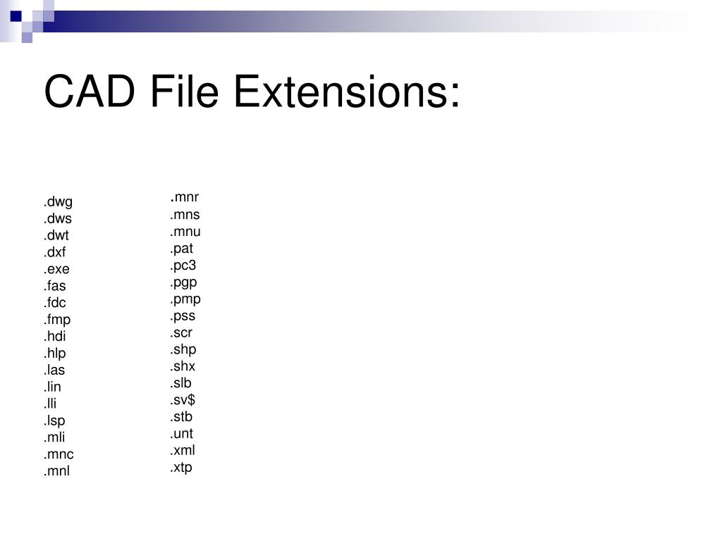 CAD File Extensions:
