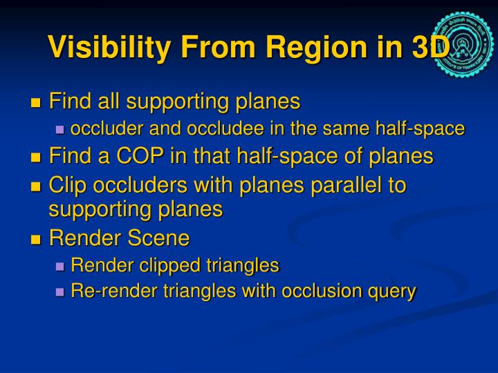 Visibility From Region in 3D