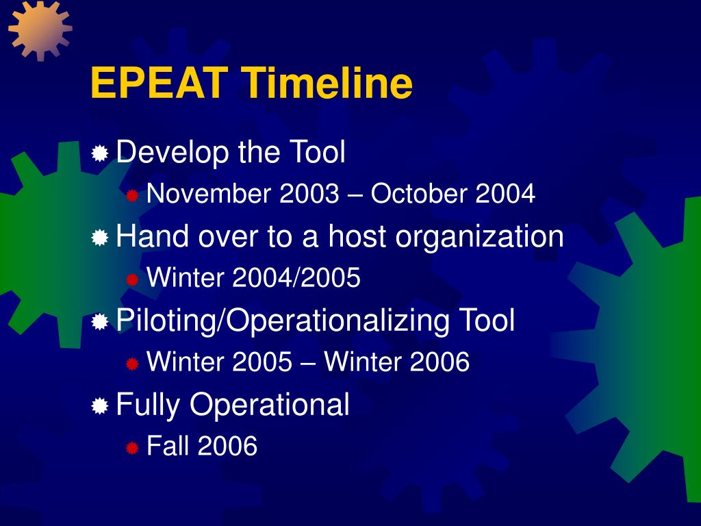 EPEAT Timeline