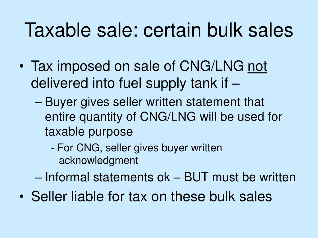 Taxable sale: certain bulk sales
