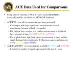 ace data used for comparisons