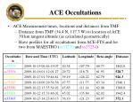 ace occultations