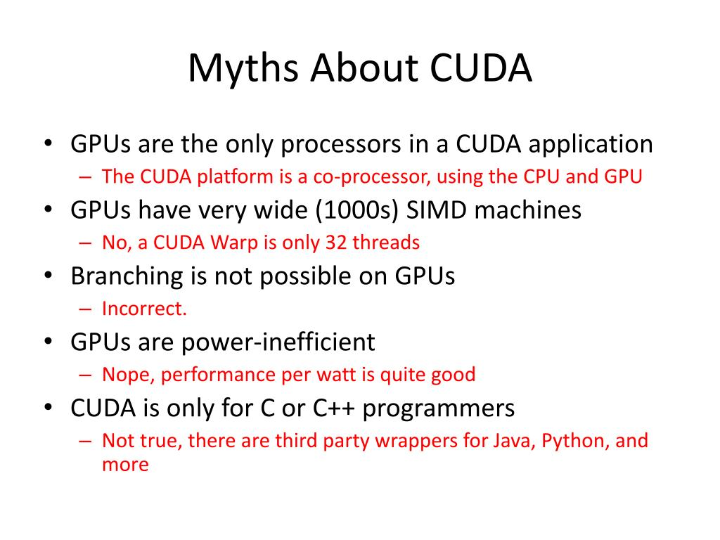 Myths About CUDA