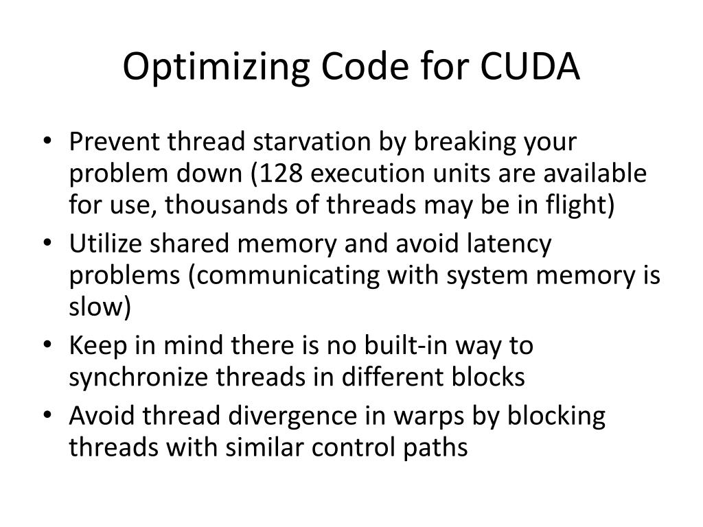 Optimizing Code for CUDA