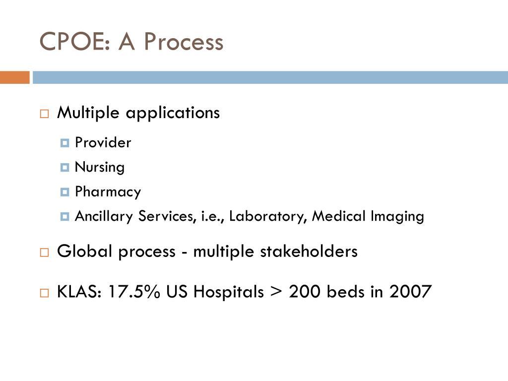 CPOE: A Process
