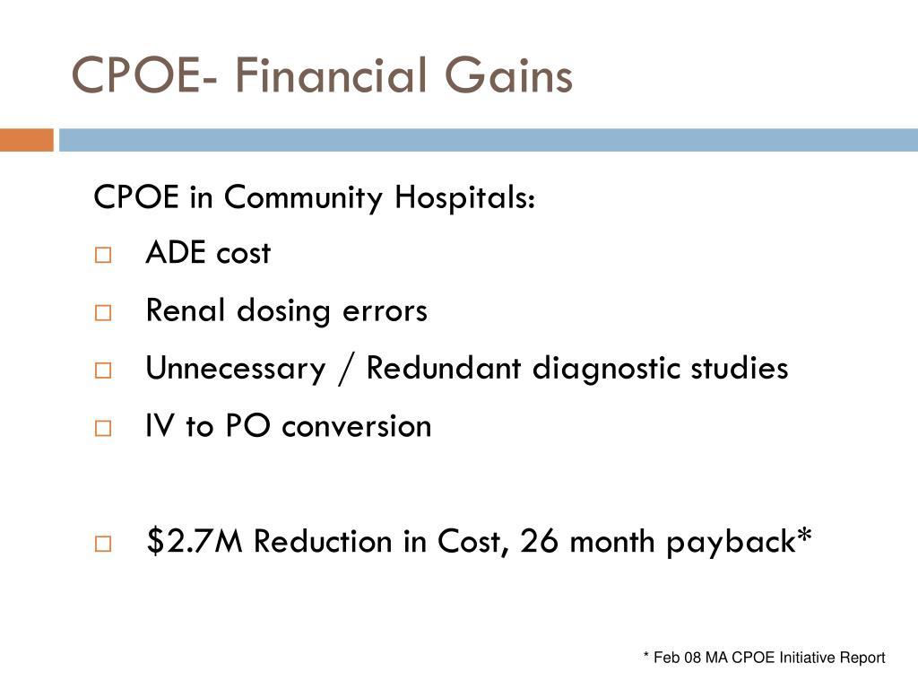 CPOE- Financial Gains