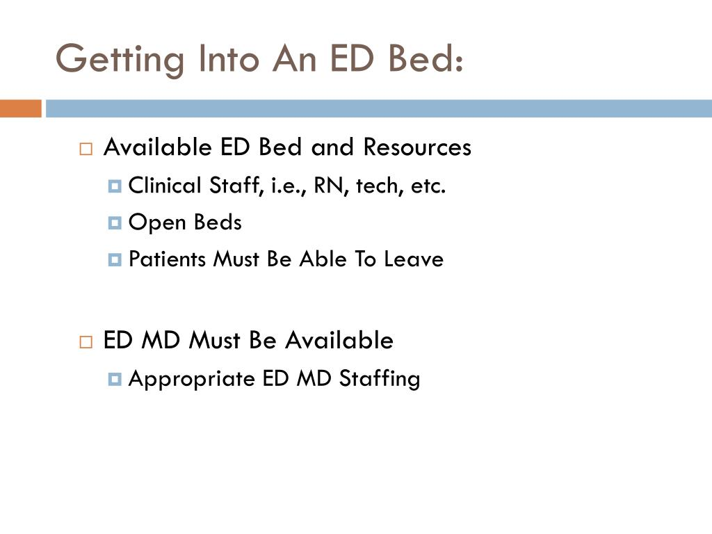 Getting Into An ED Bed: