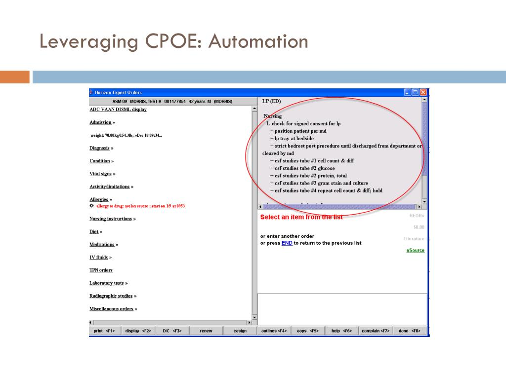 Leveraging CPOE: Automation