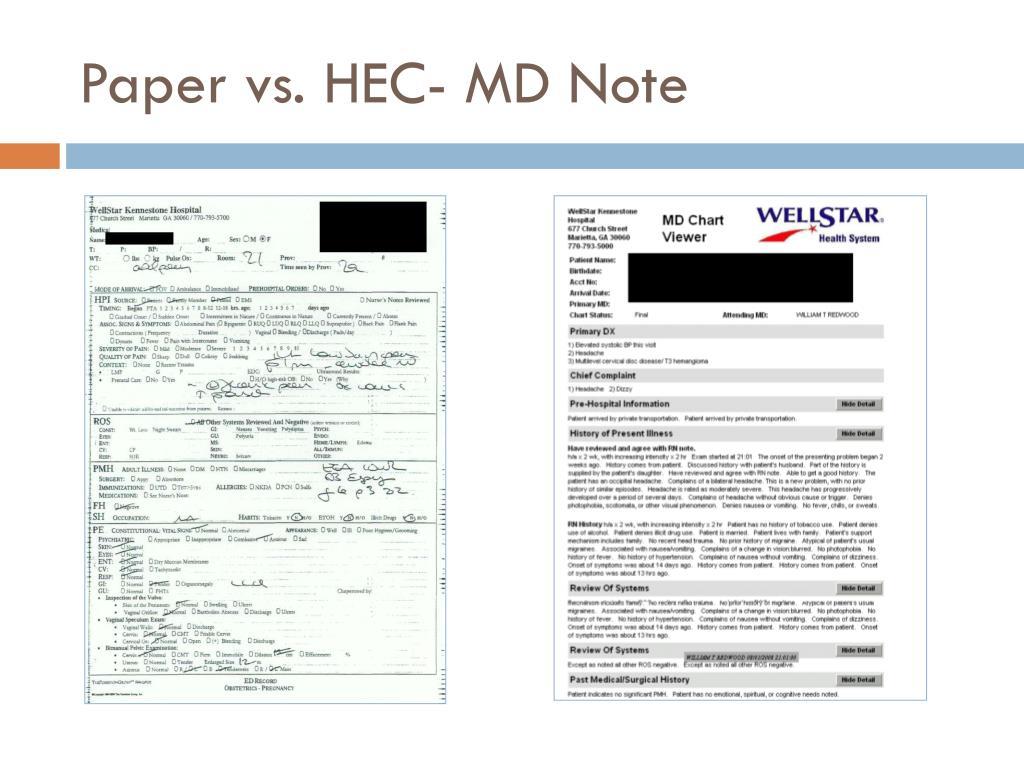 Paper vs. HEC- MD Note
