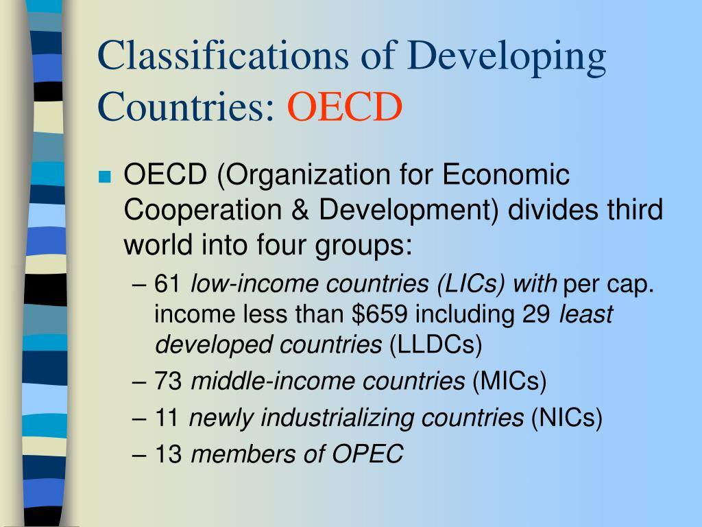 Classifications of Developing Countries: