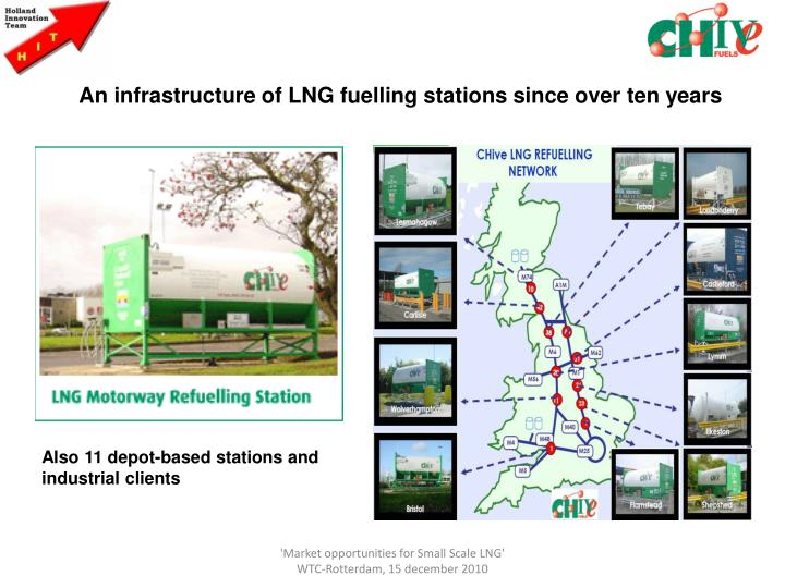 An infrastructure of LNG fuelling stations since over ten years