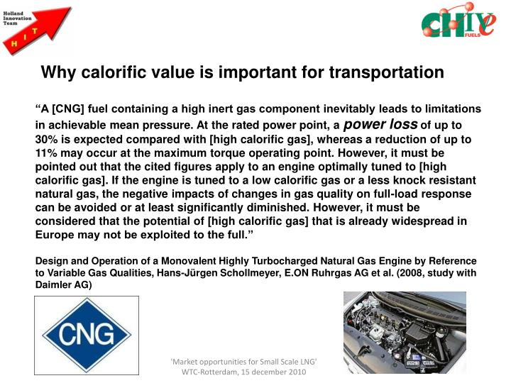 Why calorific value is important for transportation