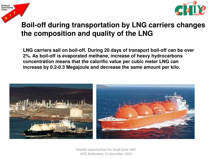 Boil-off during transportation by LNG carriers changes the composition and quality of the LNG