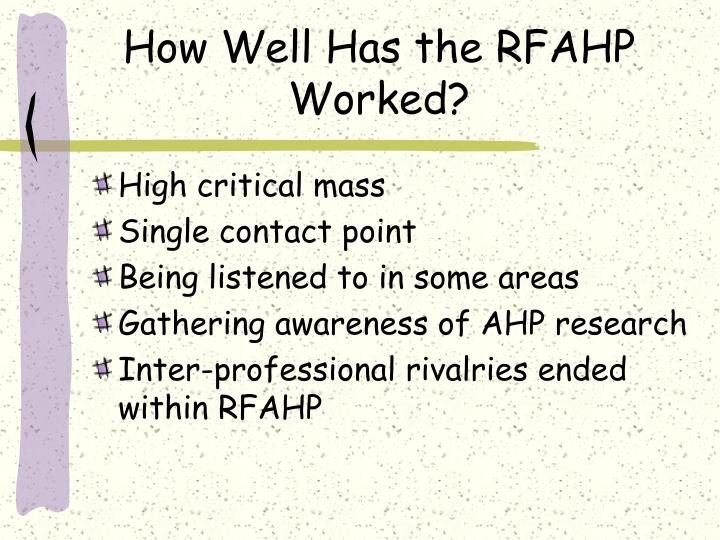 How Well Has the RFAHP Worked?