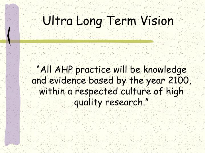 Ultra Long Term Vision