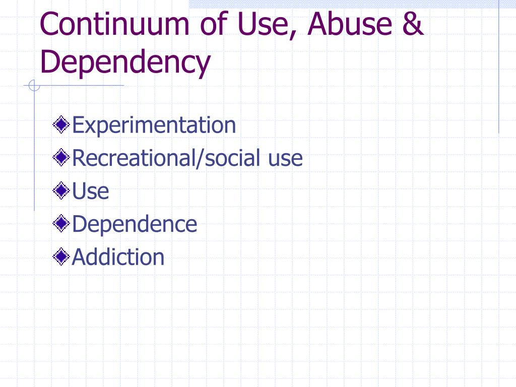 Continuum of Use, Abuse & Dependency