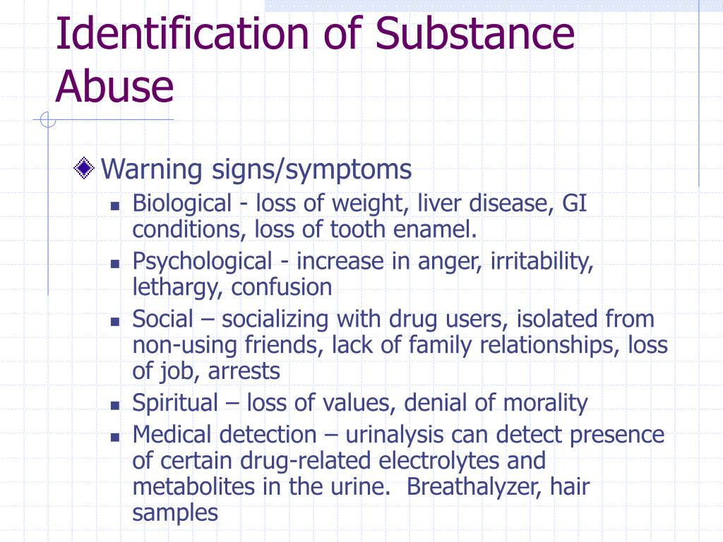 Identification of Substance Abuse
