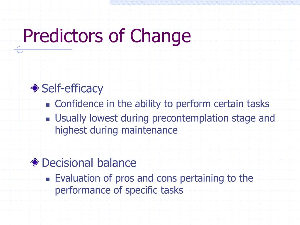 Predictors of Change