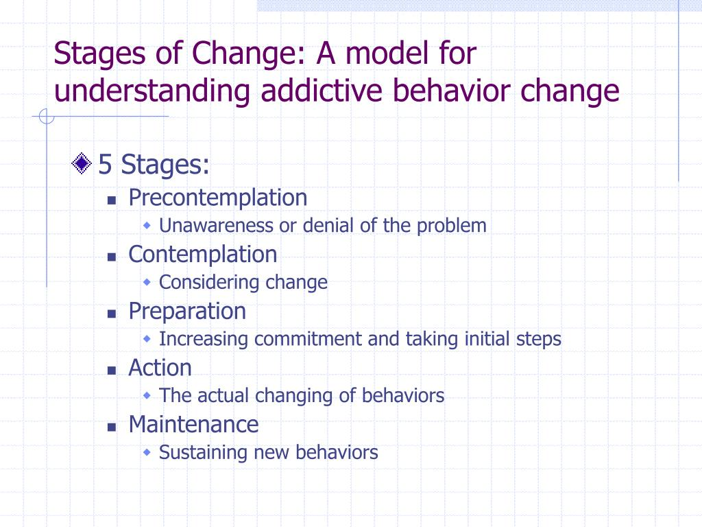 Stages of Change: A model for understanding addictive behavior change