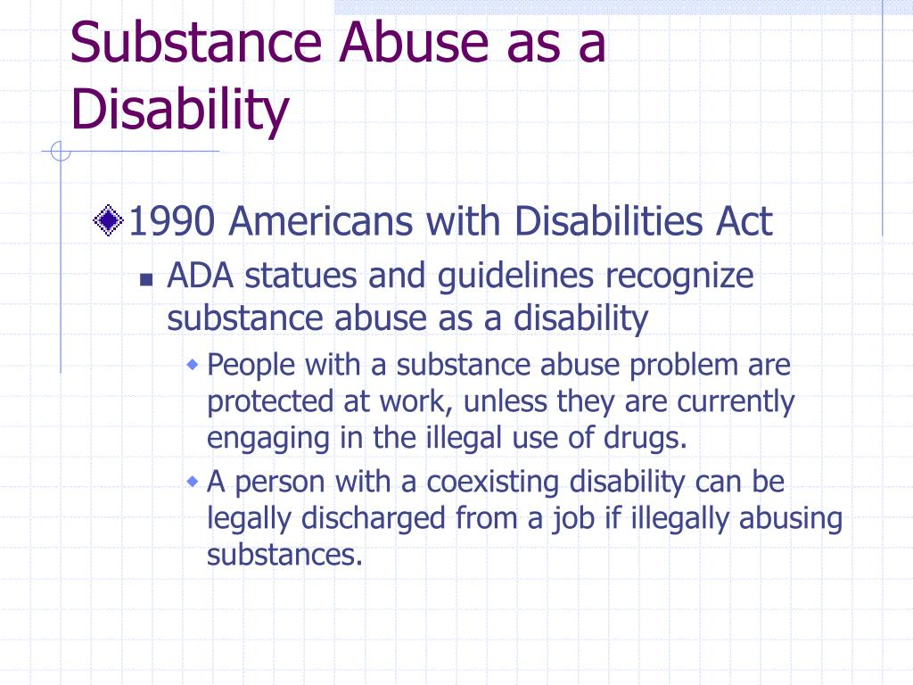 Substance Abuse as a Disability