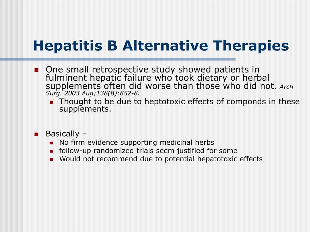 Hepatitis B Alternative Therapies