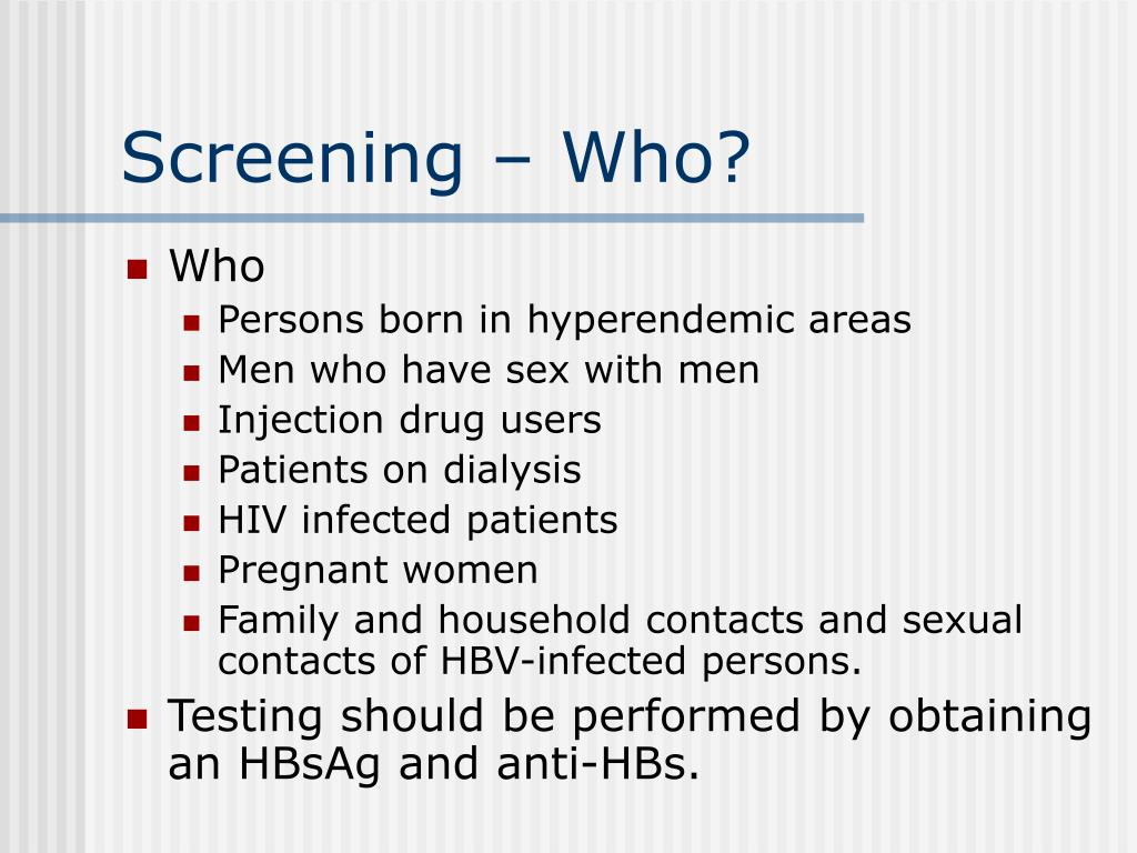 Screening – Who?