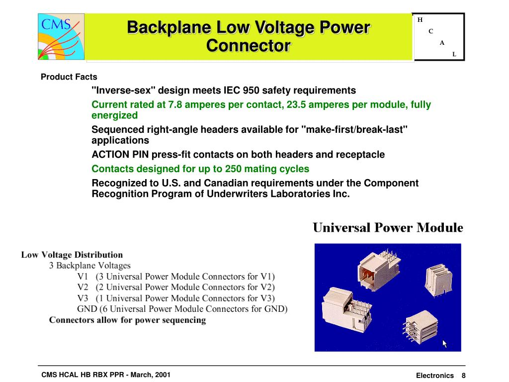 Backplane Low Voltage Power Connector