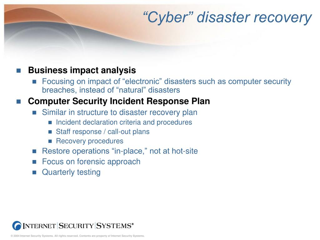 """Cyber"" disaster recovery"