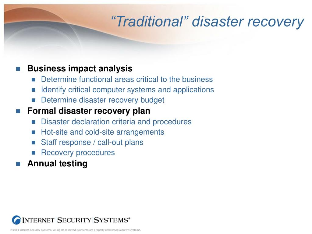 """Traditional"" disaster recovery"
