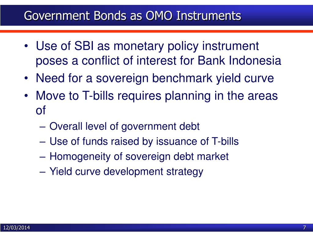 Government Bonds as OMO Instruments