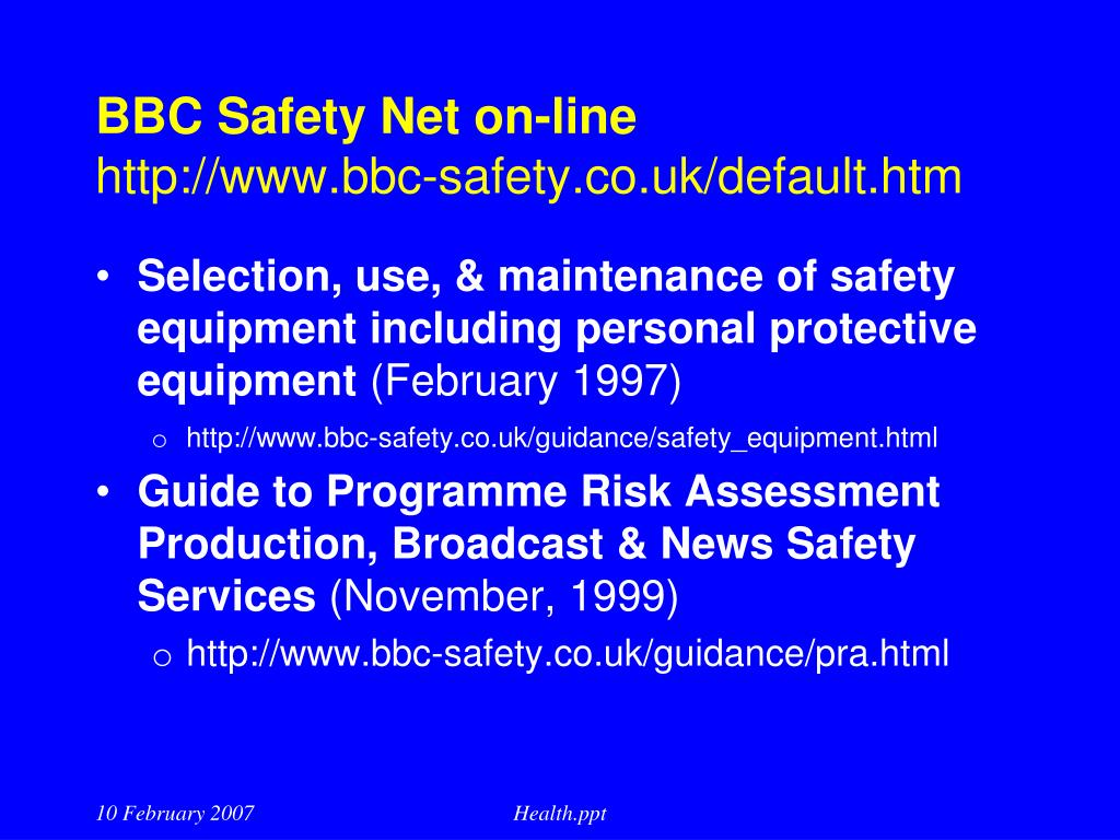 BBC Safety Net on-line