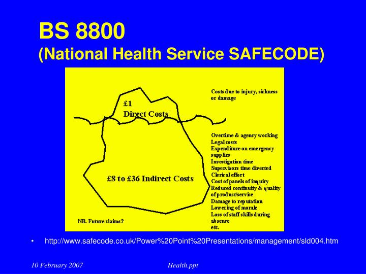 Bs 8800 national health service safecode l.jpg