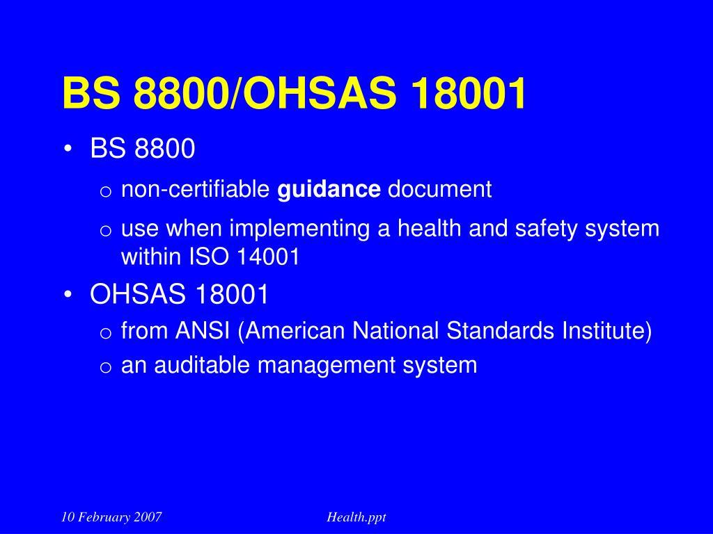 BS 8800/OHSAS 18001