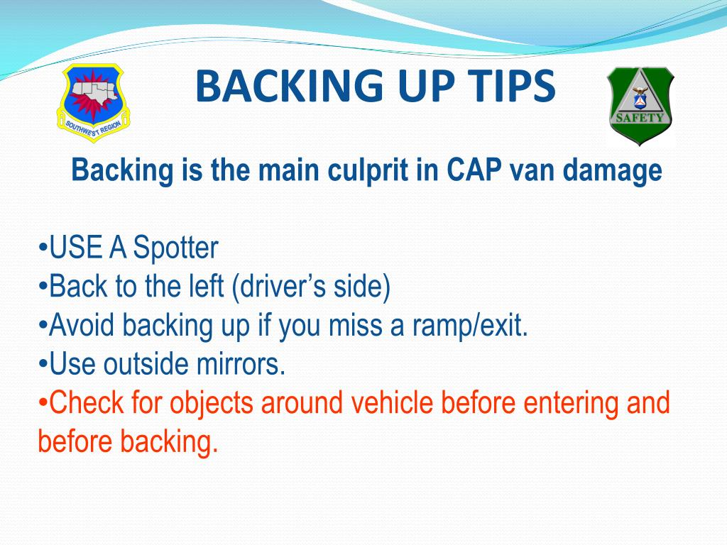 BACKING UP TIPS