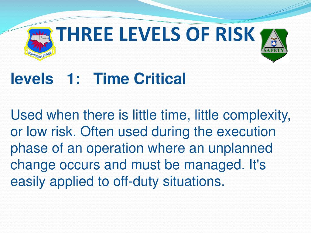 THREE LEVELS OF RISK