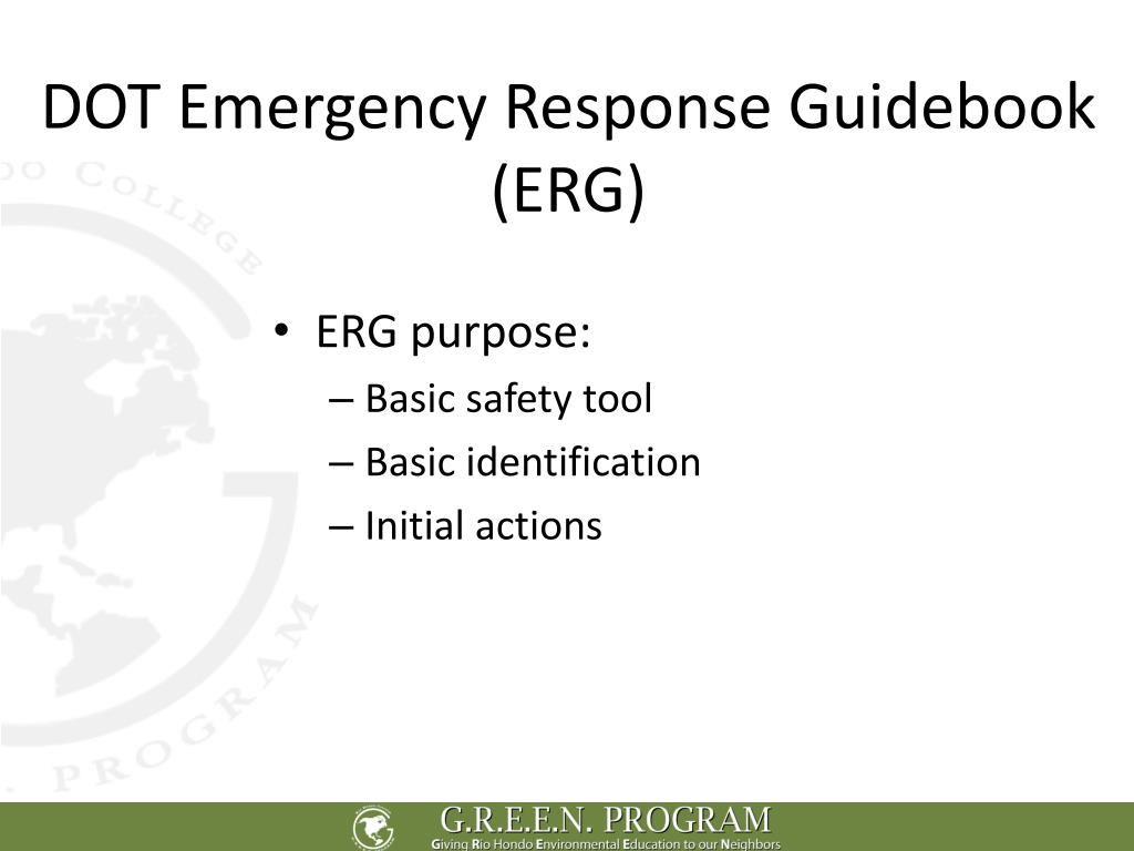 DOT Emergency Response Guidebook (ERG)