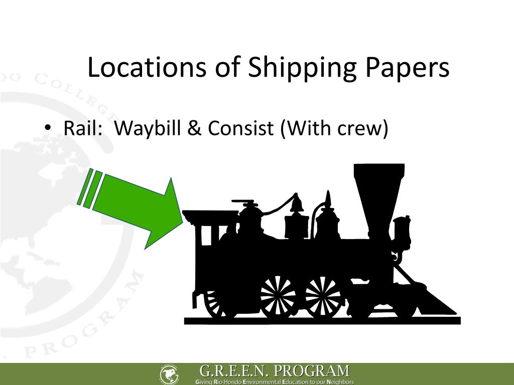 Locations of Shipping Papers