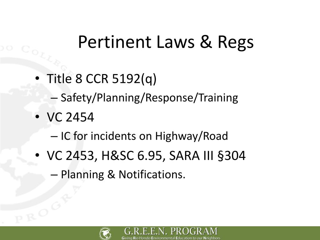 Pertinent Laws & Regs