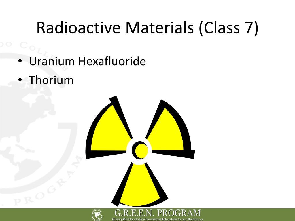Radioactive Materials (Class 7)