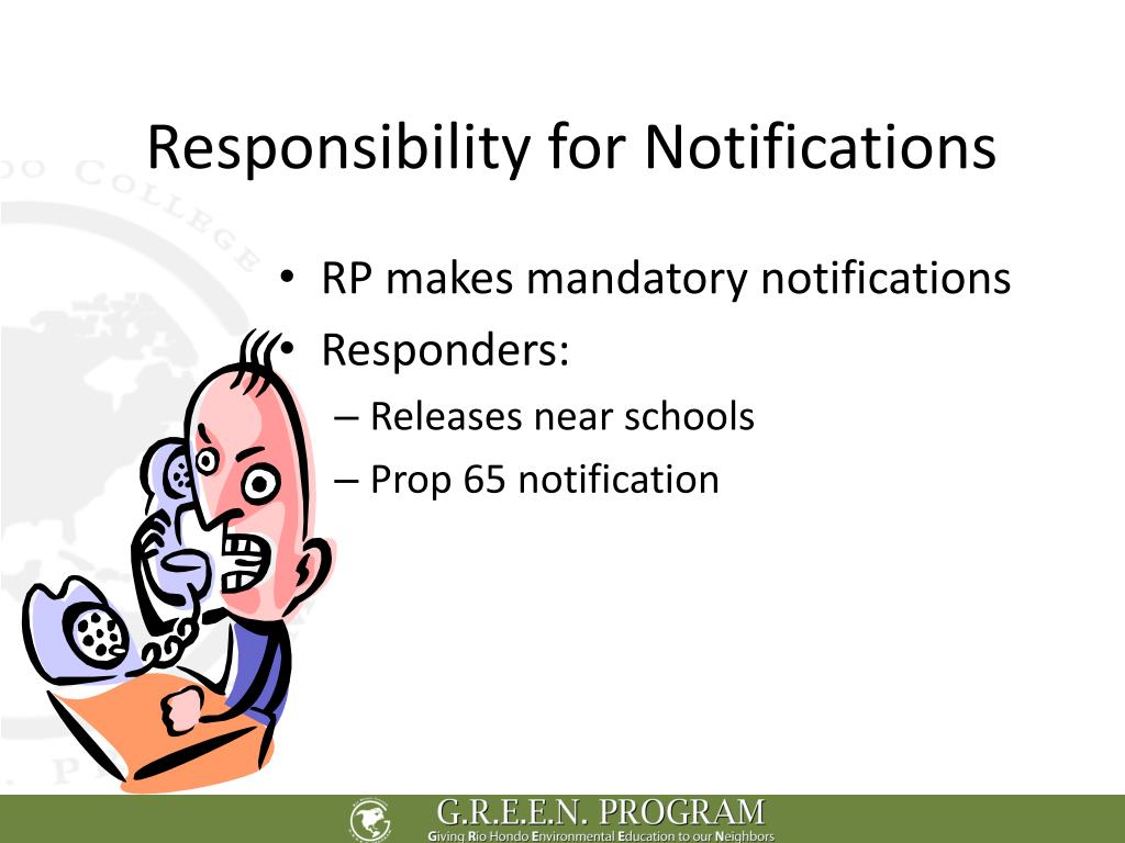 Responsibility for Notifications