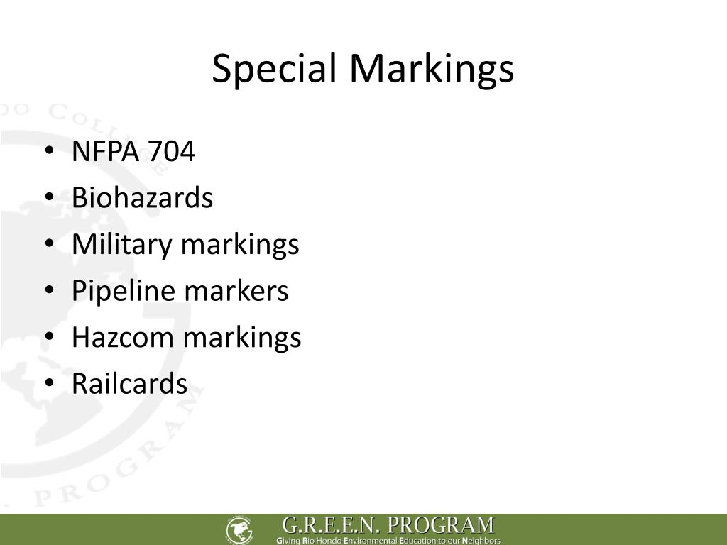 Special Markings