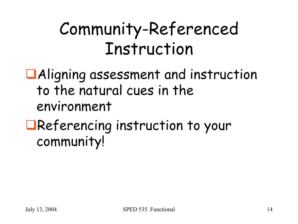 Community-Referenced Instruction