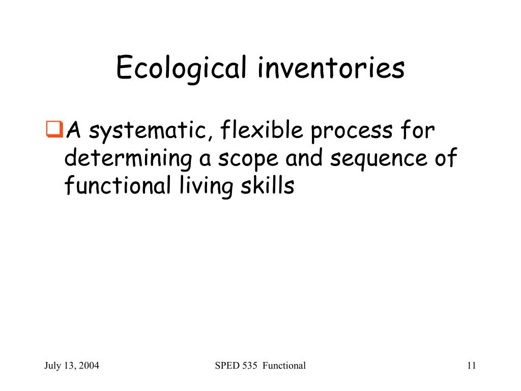 Ecological inventories