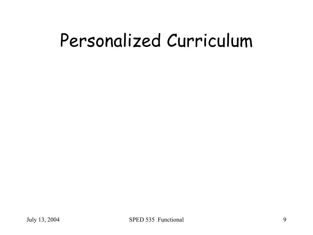 Personalized Curriculum