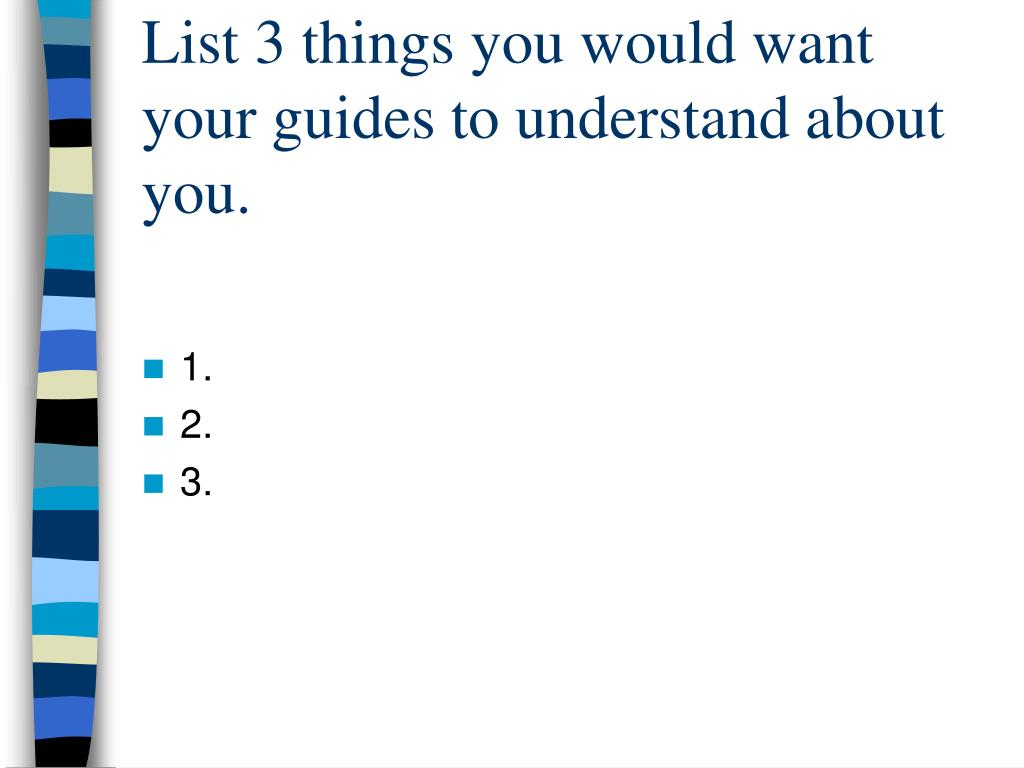 List 3 things you would want your guides to understand about you.