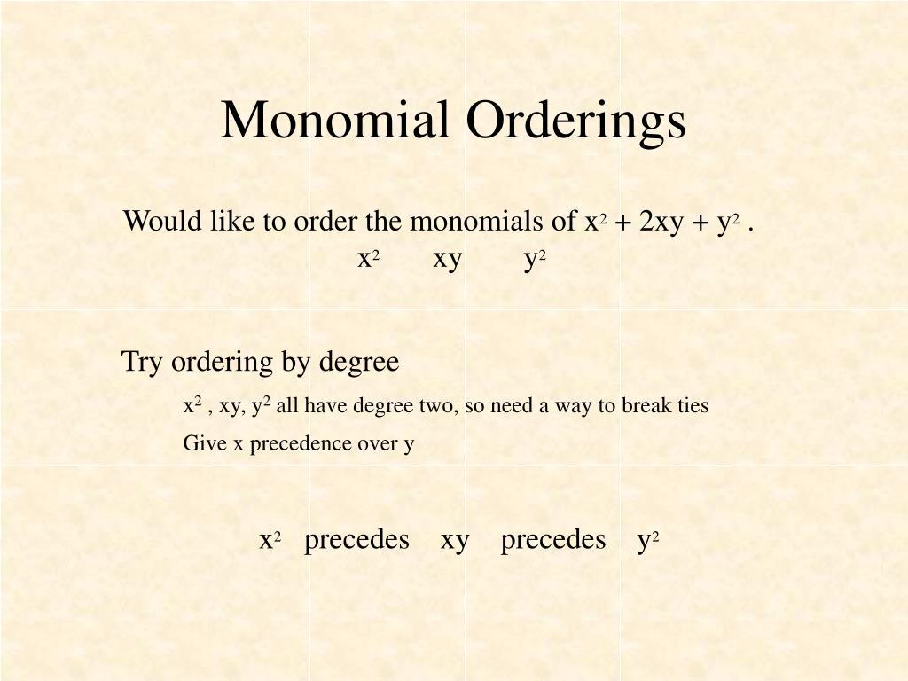 Monomial Orderings