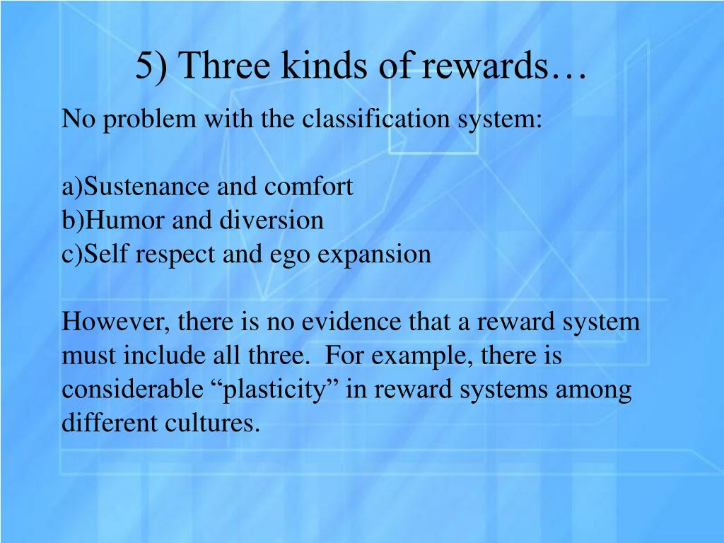 which kinds of reward system are Types of rewards in this section of the questionnaire, you are asked for a response to a series of statements about different types of rewards as each reward could be used to motivate you as an individual contributor or as a member of a team.