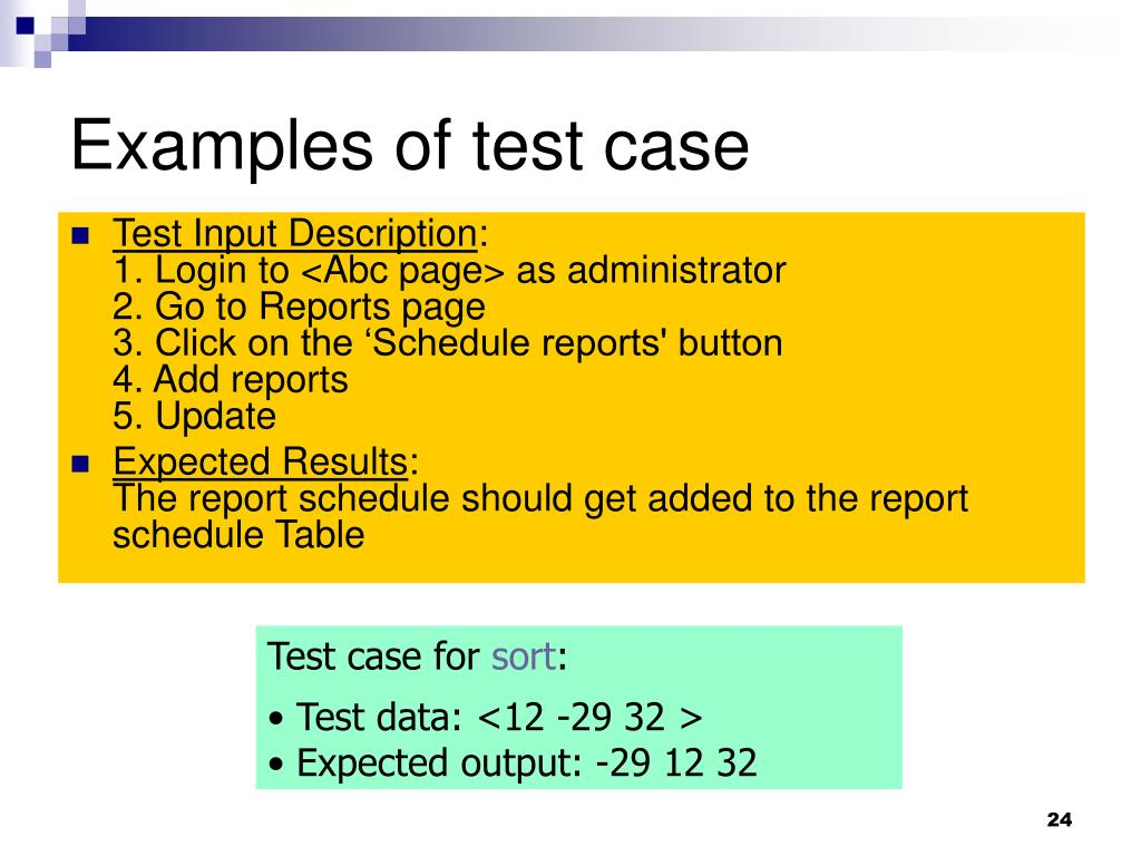 Examples of test case