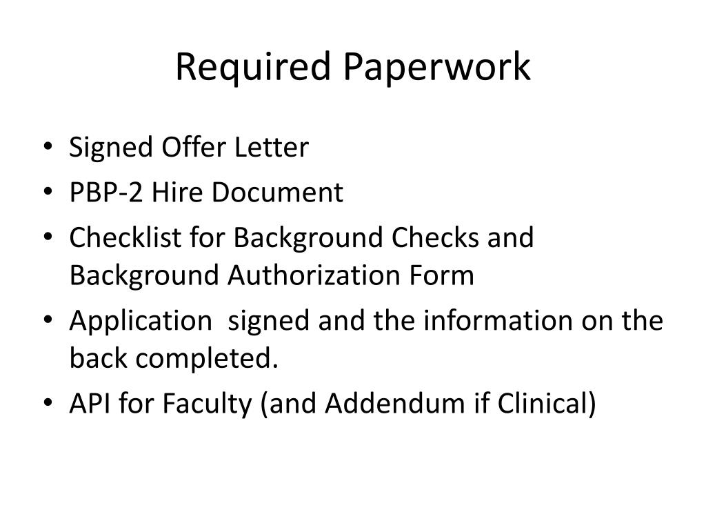 Required Paperwork